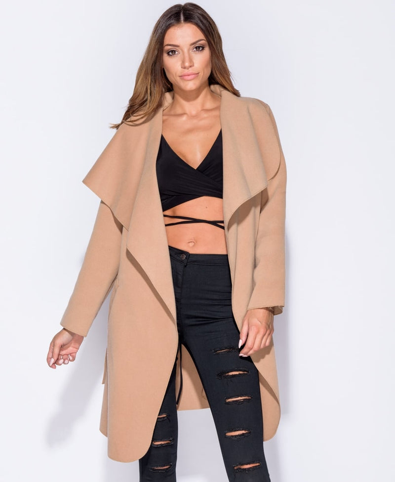 Kim Kardashian Camel Oversized Belted Waterfall Coat