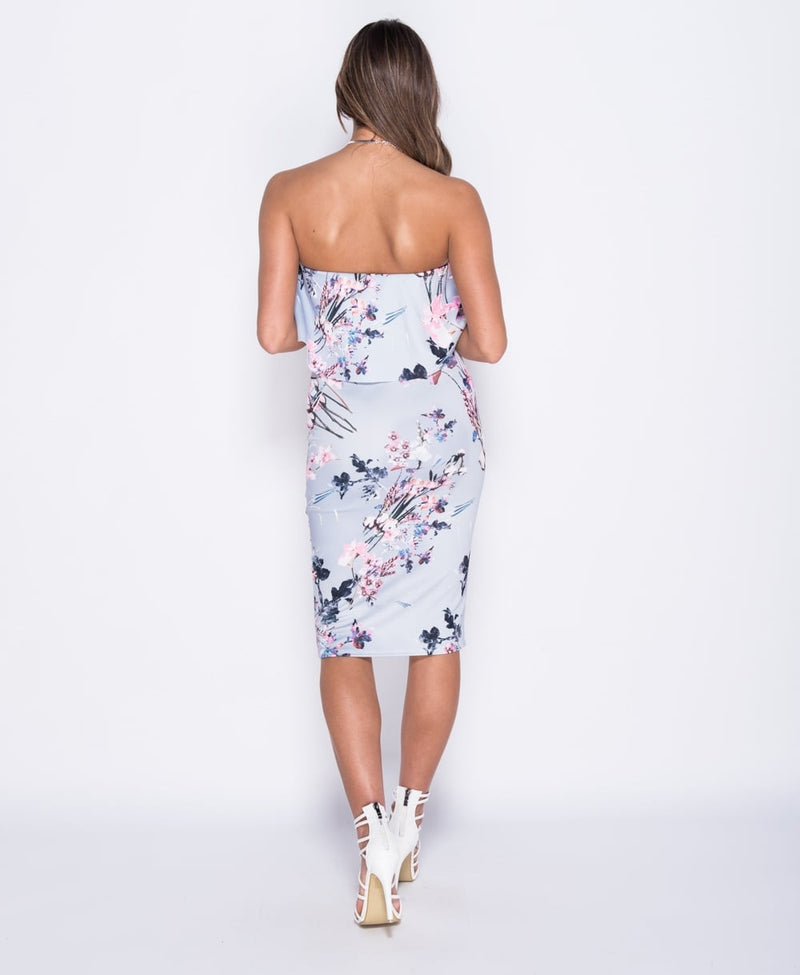 Floral Print One Tier V Front Bardot Dress