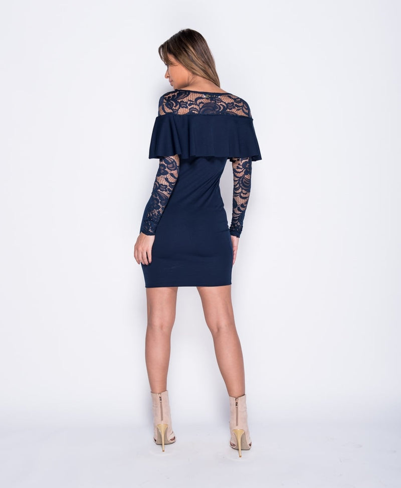 Frill Front Lace Sleeve Bodycon Dress
