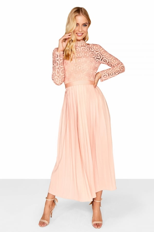 3d46389268 Little Mistress Peach Pleat Dress - Poppy Midi Dress - Christmas ...