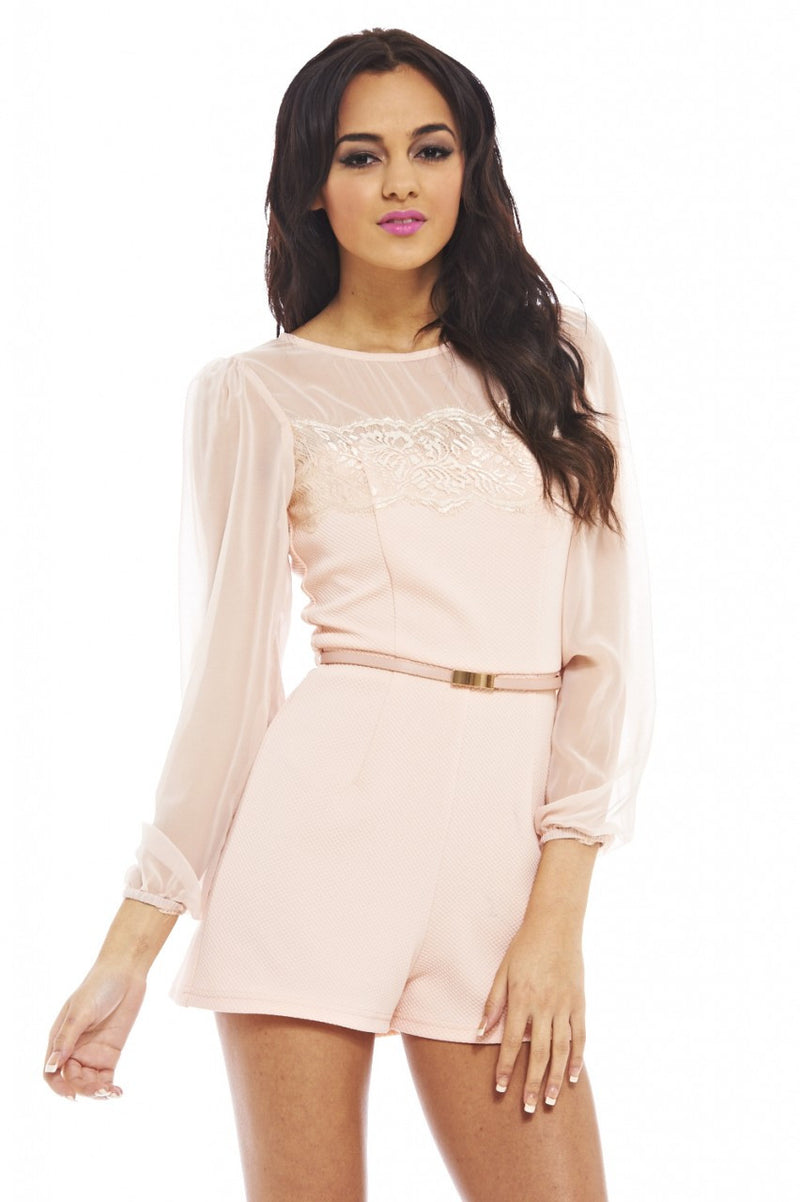AX Paris Chiffon Shoulder Belted Playsuit - Glitzy Angel