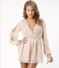 Lipsy V Neck Split Sleeve Playsuit
