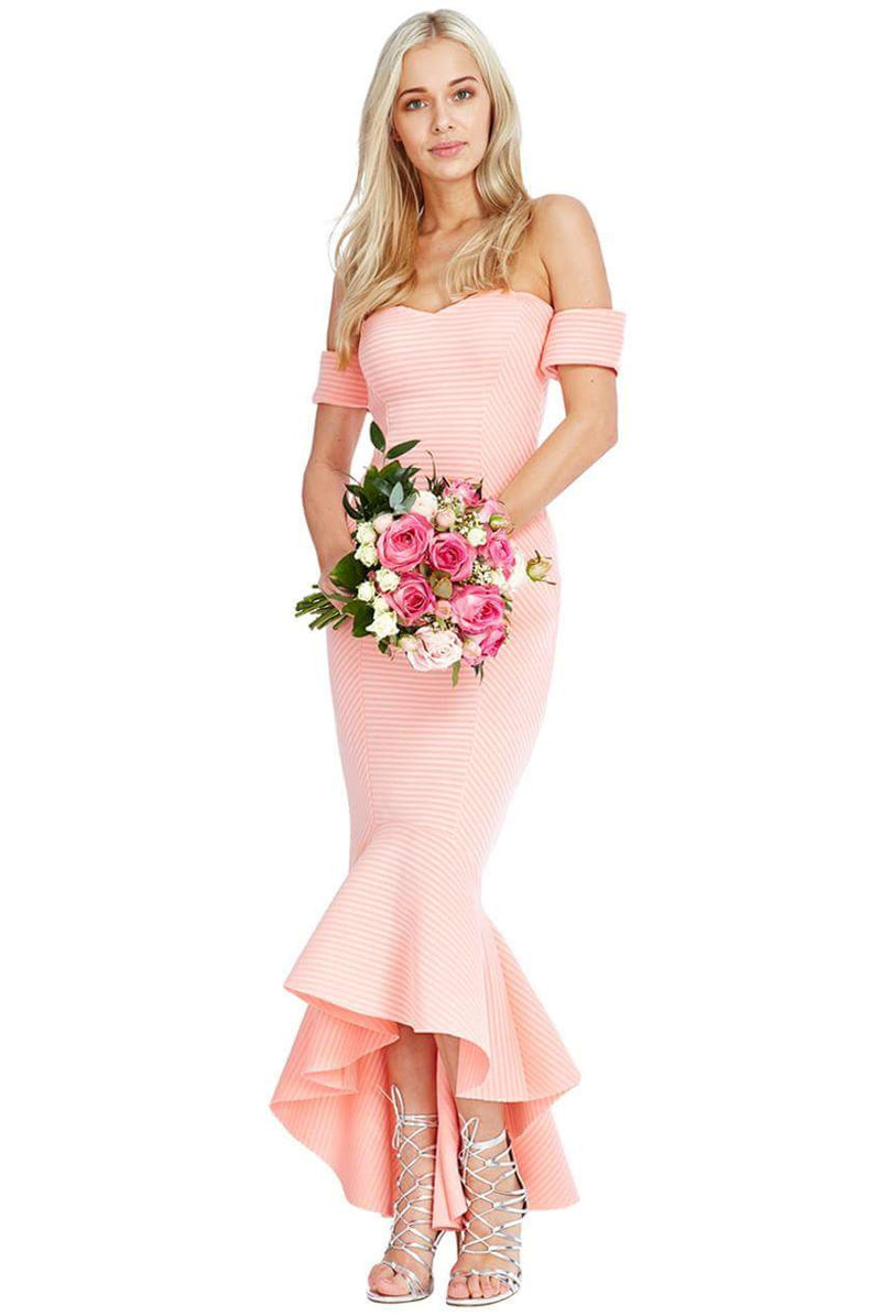 Goddiva Bardot Fishtail Maxi Dress - Bridesmaids Dresses - Glitzy Angel