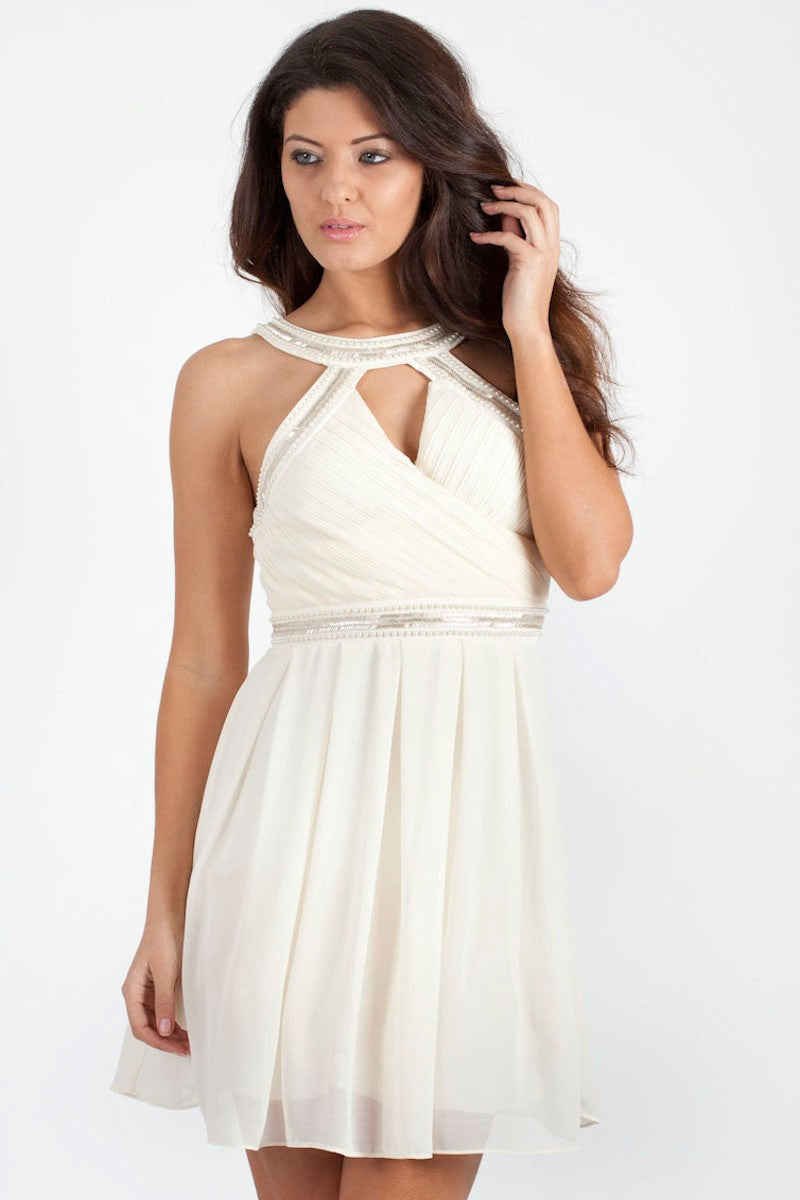 TFNC Katie Embellished Halter Dress - Glitzy Angel