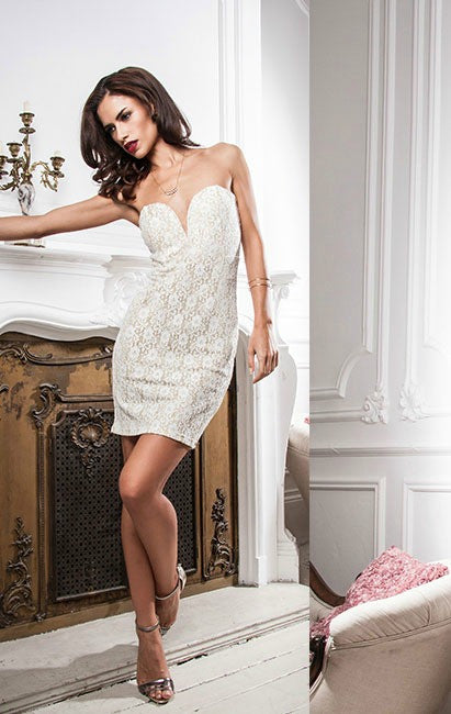 TFNC Halo Lace Dress - Glitzy Angel