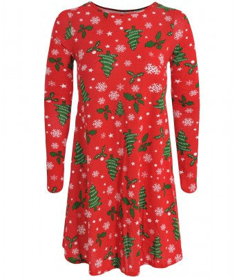 Snowflake Holly Print Christmas Smock Swing Dress - Glitzy Angel