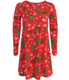 Snowflake Holly Print Christmas Smock Swing Dress