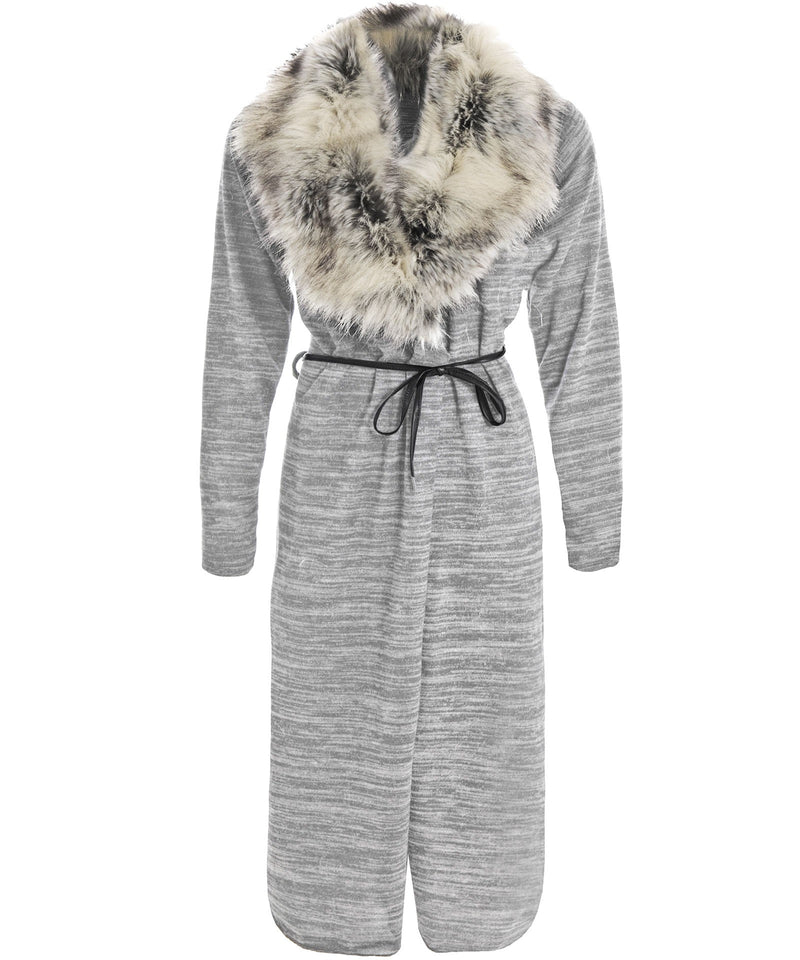 Faux Fur Collar Grey Cardigan - Glitzy Angel