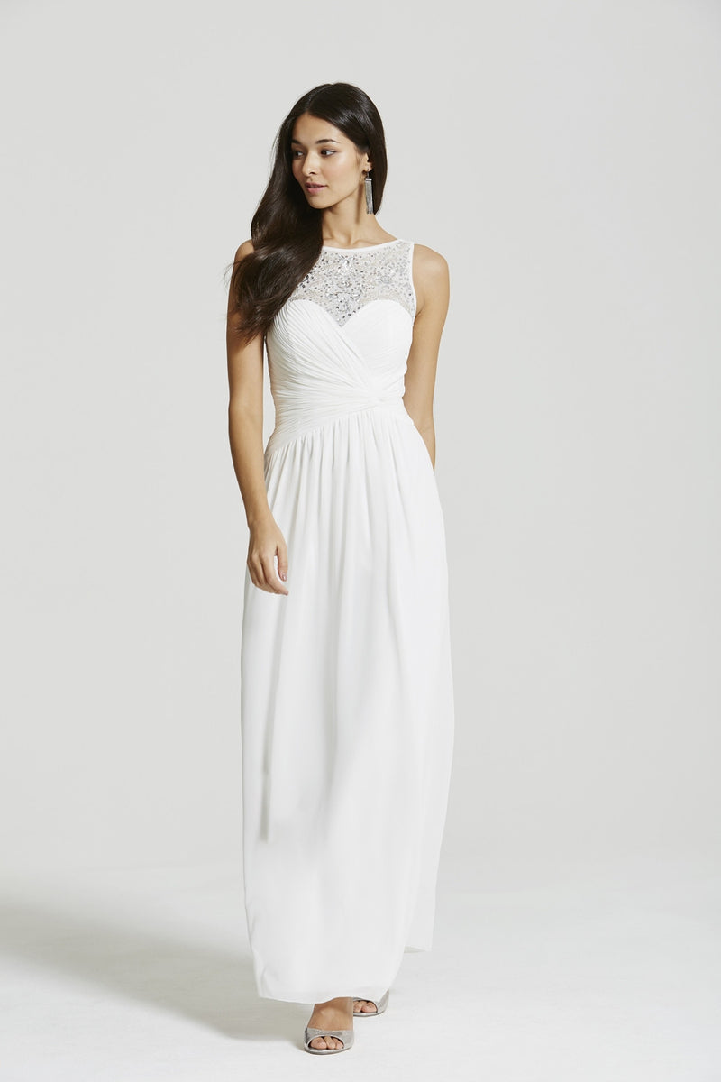 Little Mistress White Embellished Jewelled Neck Maxi Dress - Glitzy Angel