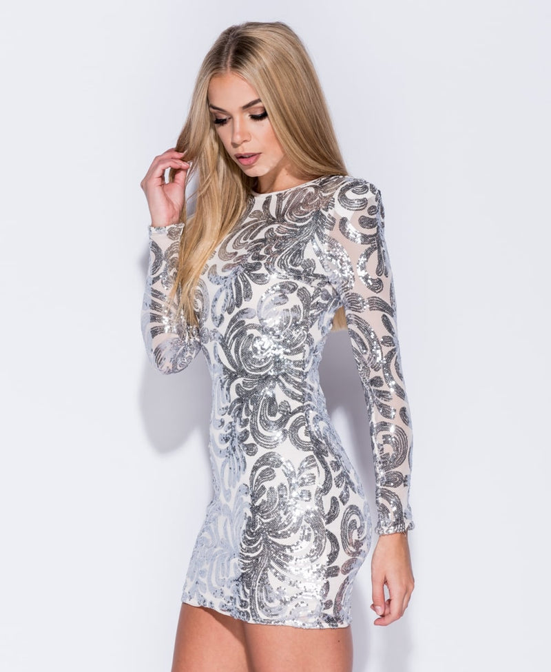 White Sequin Bodycon Mini Dress