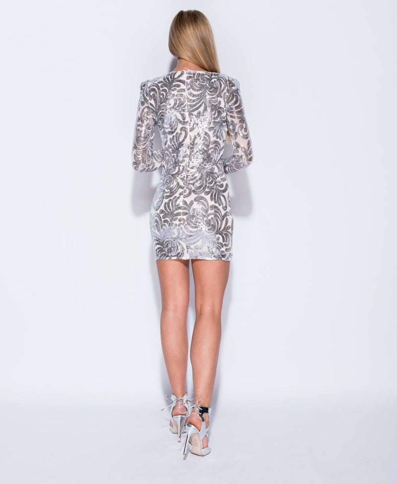 Silver Sequin Bodycon Mini Dress