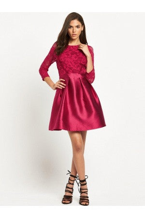 Little Mistress Berry Lace Prom Dress With Full Skirt - Glitzy Angel