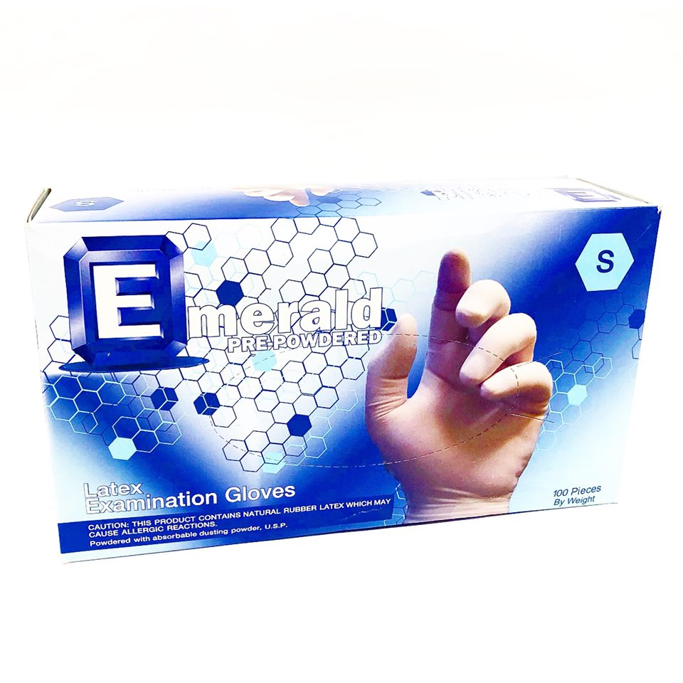 Emerald Pre-Powdered Latex Examination Small Gloves 100 Pieces