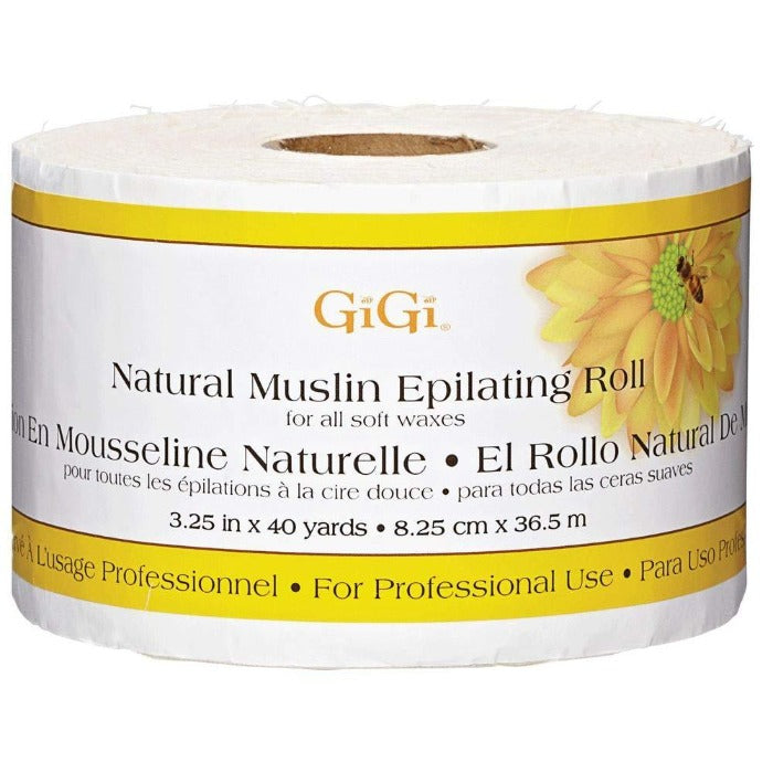GiGi Natural Muslin Epilating Roll For All Soft Waxes 3.25in X 40 Yards / 8.25cm X 36.5m #0620