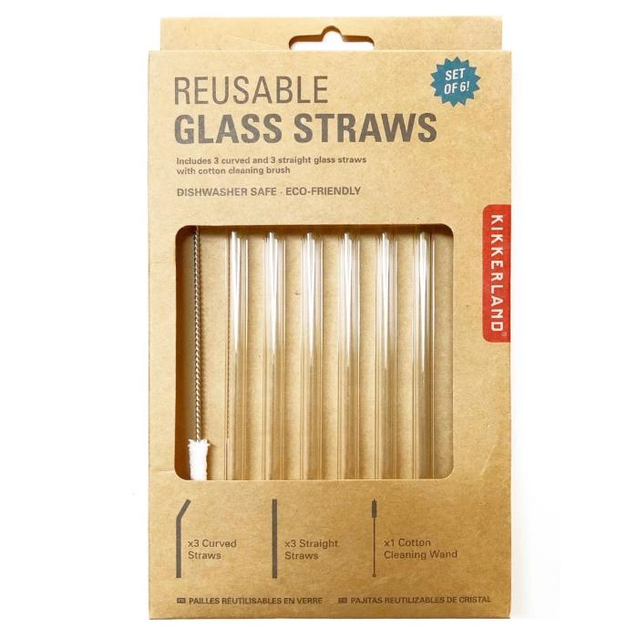 Kikkerland Reusable Glass Straws Set Of 6