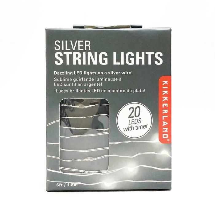 Kikkerland Silver String Lights 6ft / 1.8m