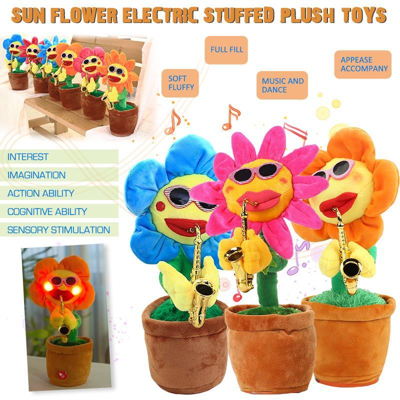 Musical 60 Songs Singing and Dancing Flower with Saxophone Plush Funny  Electric Toy