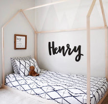 Load image into Gallery viewer, mod-nursery-boy-s-room-decor-inspiration-with-3D-hanging-name-sign-my-custom-timber