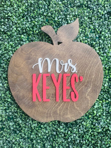 Teacher Apple Name Sign 18""