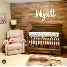 Load image into Gallery viewer, rustic-boys-nursery-idea-shiplap-name-sign-handmade-baby-gifts