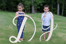 Load image into Gallery viewer, cute-kids-family-photos-holding-first-initial-wood-monogram-signs