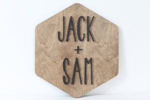 Hexagon Name Sign 24""