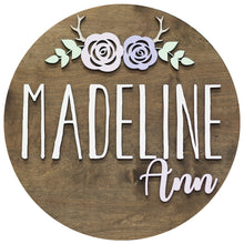 Load image into Gallery viewer, Antlers with flowers Round Wood Name Sign 24""