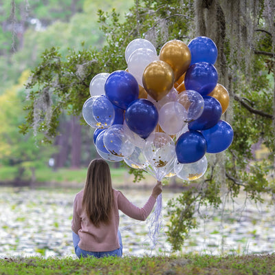 Confetti, Metallic Gold, Blue & White Balloons