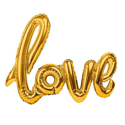 Love Letter Script Balloon - Gold - Balloons