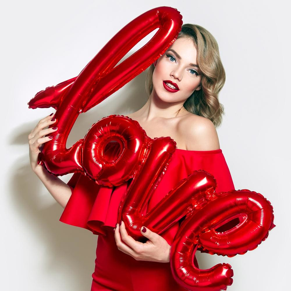 Love Letter Script Balloon - Red - Balloons