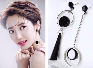 Rhinestone Circle Ear Stud - Acrylic Big Earrings
