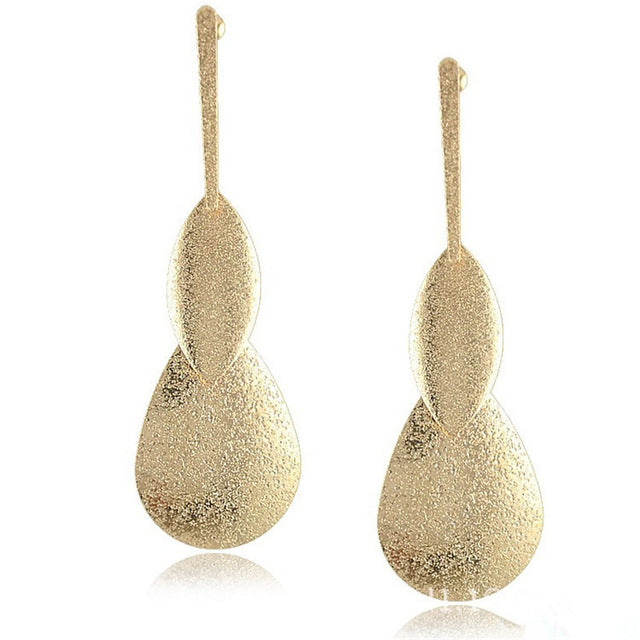 Long Water Drop Metal  Dangle Earrings