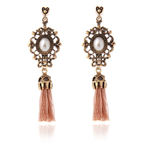 Vintage Rhinestone Crystal Alloy Flower Tassel Earrings