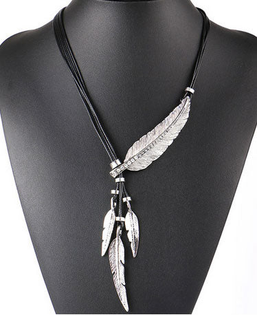 Vintage Feather Necklaces Pendants -  Rope Chain