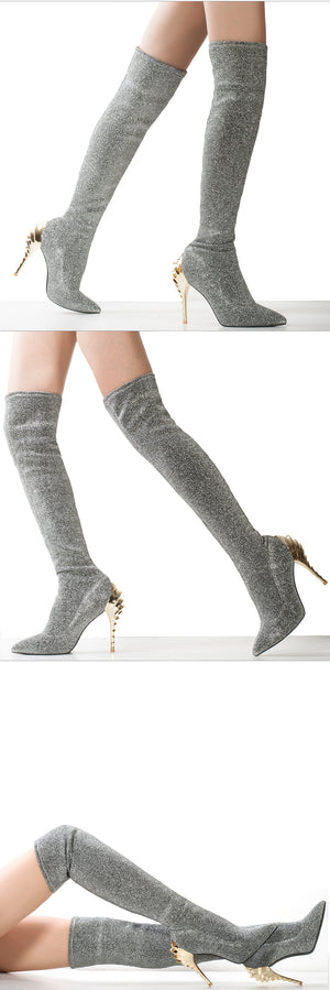 Silver Slim Over The Knee High Boots