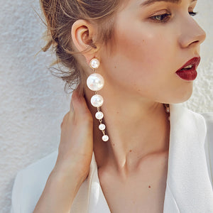 Simulated Pearl Long Earrings