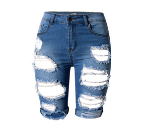HOLLOW RIPPED JEANS - BLUE/WHITE