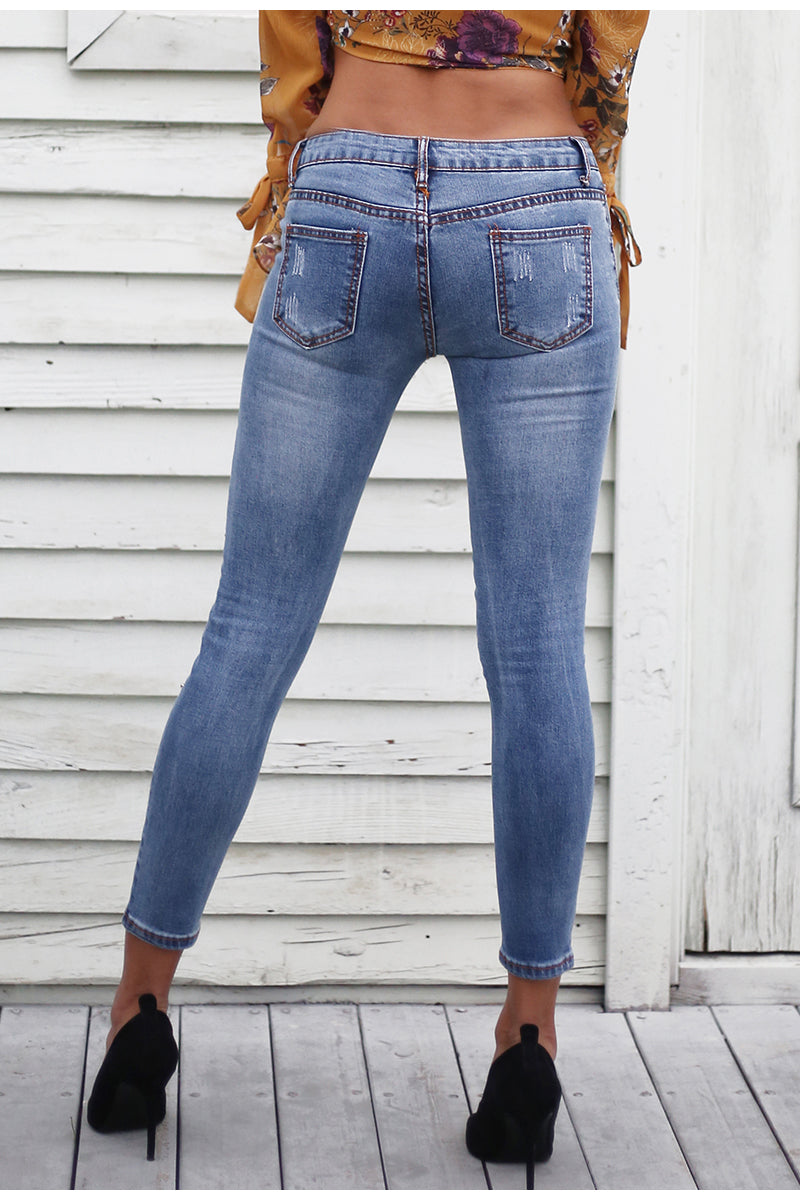 PEARL HOLE JEANS - BLUE