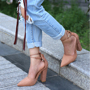 Strappy Retro Lace Pumps
