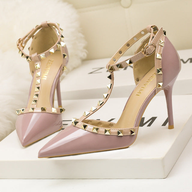 Thin High-Heeled Shallow Pointed