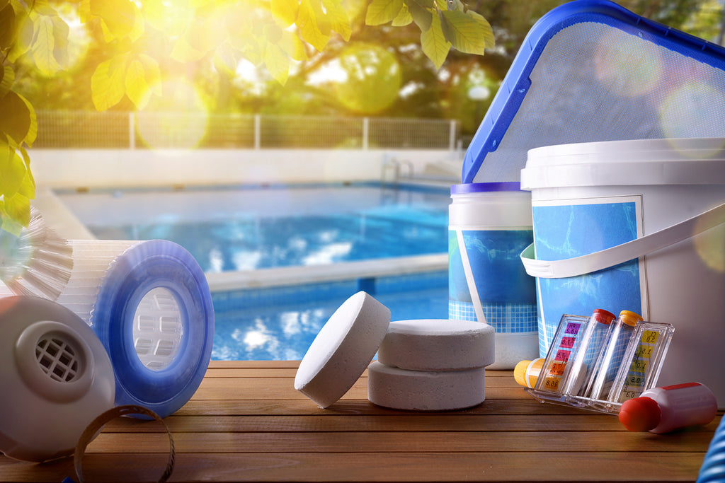 Pool maintenance chemicals and supplies