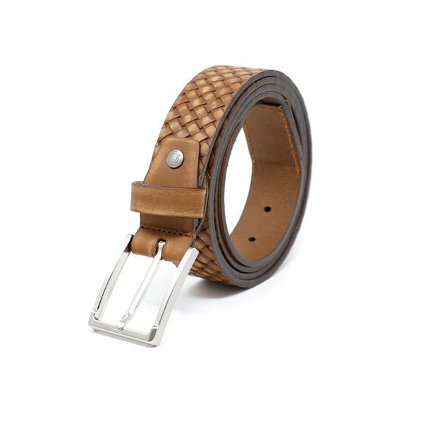 Harnes Buckle Belt - Tan woven leather