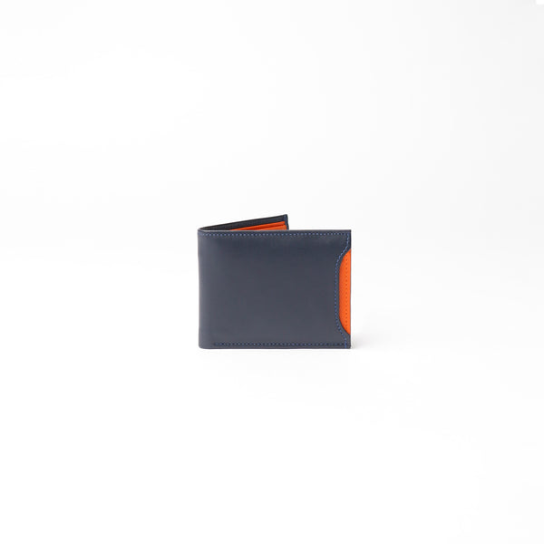 Milano Wallet - Dark Blue with Orange Napa