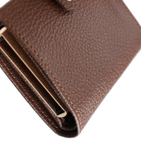 RFID Blocking Card Case Wallet with Snap Closure - Pebbled Brown