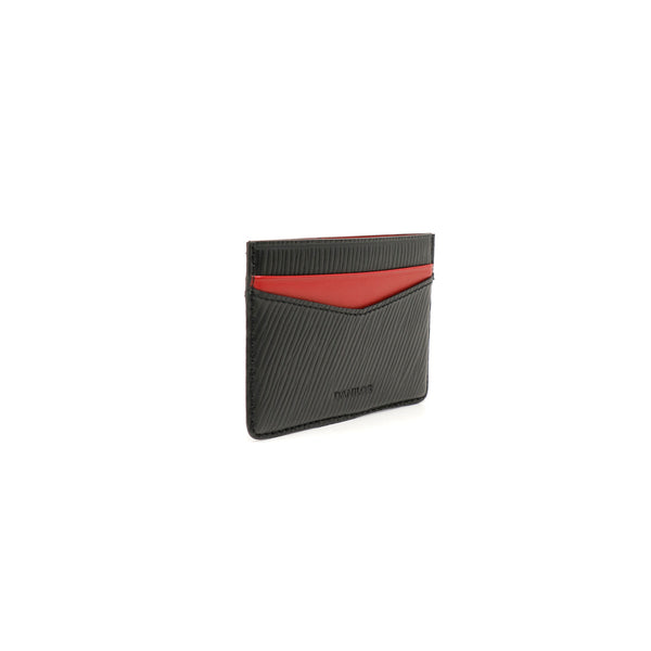 Patrick Card Holder - Epi Black With Napa Red