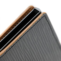 RFID Blocking Card Case Wallet - Black Epi & Tan Napa