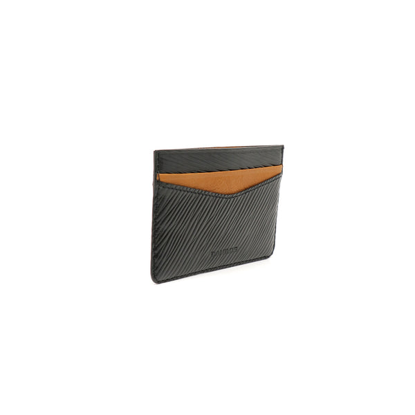 Patrick Card Holder - Epi Black With Tan