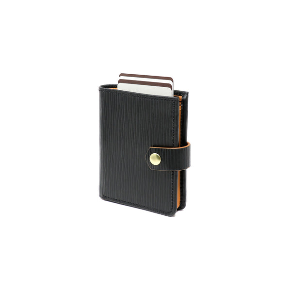 RFID Blocking Card Case Wallet with Snap Closure - Black Epi & Tan Napa