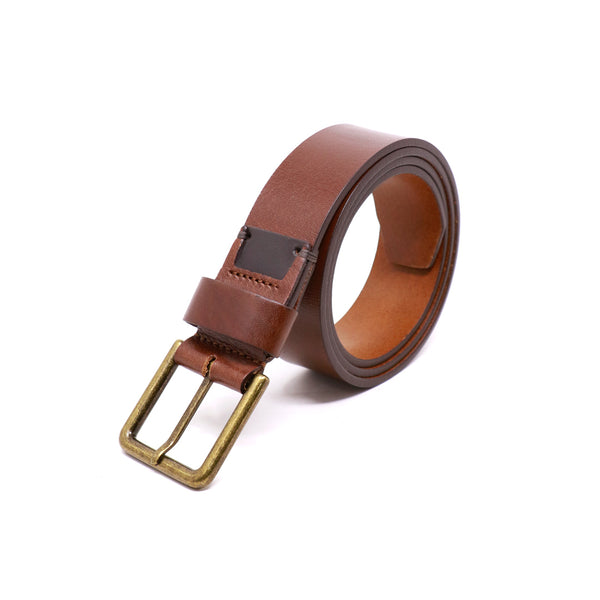 Harness Buckle Belt - Cognac with dark old english hardware