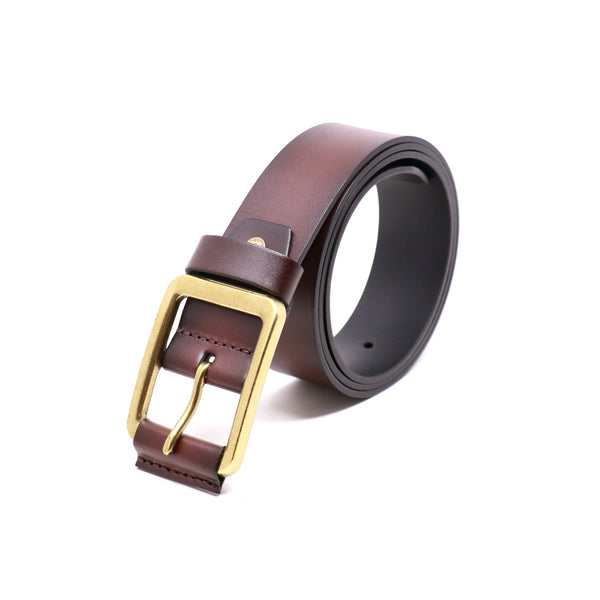 Harness Buckle Belt - Brown with leather piece on buckle